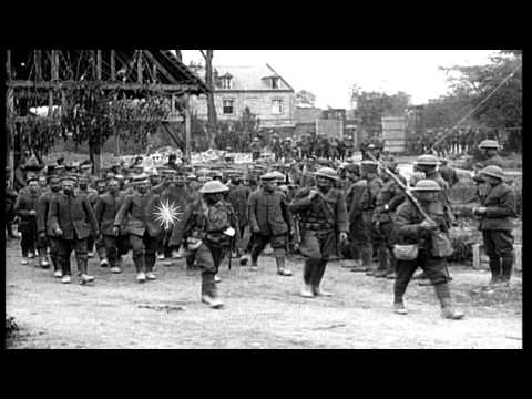 US 1st Division troops (AEF) in Picardy, France, during World War I HD Stock Footage
