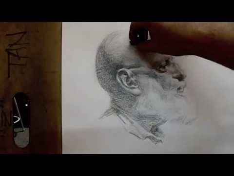 """Anton"" 80 minutes cross hatching drawing demo from Tan's Fine Art Studio, by Zimou Tan"