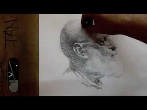 """Anton"" 80 minutes cross hatching drawing demo from Tan's Fine Art Studio, by Zimou Tan"