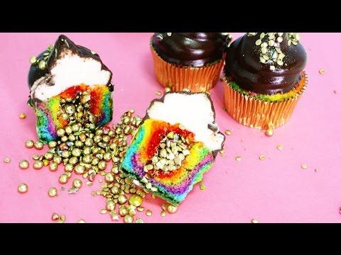 Rainbow Surprise Cupcakes - 2 WAYS! Rainbow Hi-Hat cupcakes & Rainbow Shamrock cupcakes