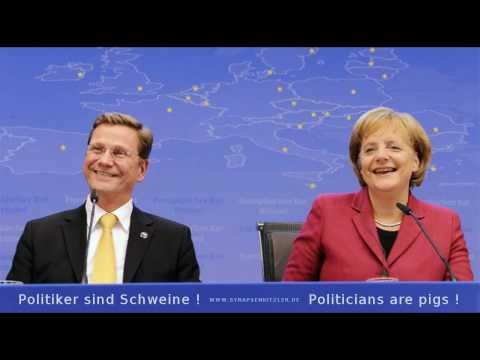 Video screenshot Politiker sind Schweine. Angela Ferkel grunzt.