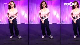 Sanya Malhotra's look with Zipper Top & Denims | Sanya's OOTD - ZOOMDEKHO