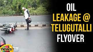 Oil Leakage At Telugu Talli flyover Tank Bund Leads To Chaos | Mango news - MANGONEWS
