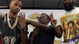 Kevin Hart Clowning At Press Room With James Harden & Trey Songz