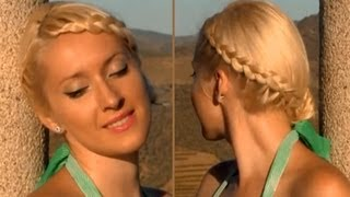 Braided updo for medium long hair for everyday or special events