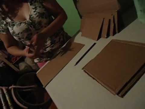 Caixa feita de papelão revestida com tecido parte 1