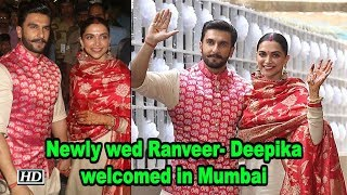 Newly wed Ranveer- Deepika , welcomed in Mumbai by sea of fans - BOLLYWOODCOUNTRY