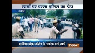 Ajmer: Police lathicharge protesting students of  Prithviraj Chauhan College - INDIATV