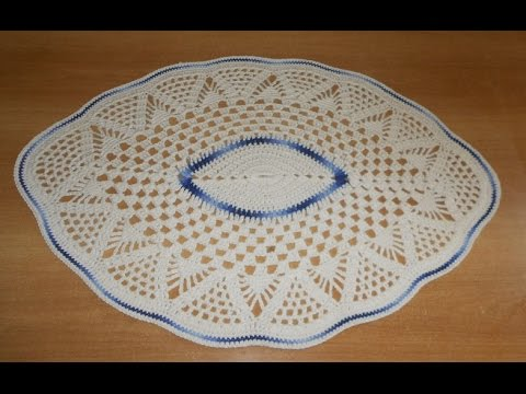 Tapete de Barbante em Croche Oval Azul e Natural parte 2  - crochet rug - alfombra de ganchillo
