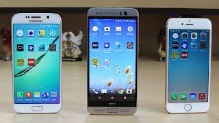 بالفيديو.. مقارنة السرعة بين آي فون 6 ضد Galaxy S6 ضد One M9 Plus