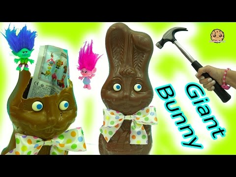 Hammer Smash Giant Chocolate Bunny with Surprise Blind Bags + Easter DIY Boss Baby & Trolls Eggs