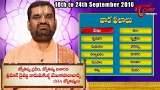 Vaara Phalalu | Sep 18th to Sep 24th 2016 | Weekly Predictions 2016 || #Horoscope - TELUGUONE