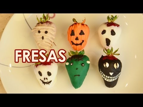 Fresas cubiertas de chocolate para HALLOWEEN o DIA DE MUERTOS