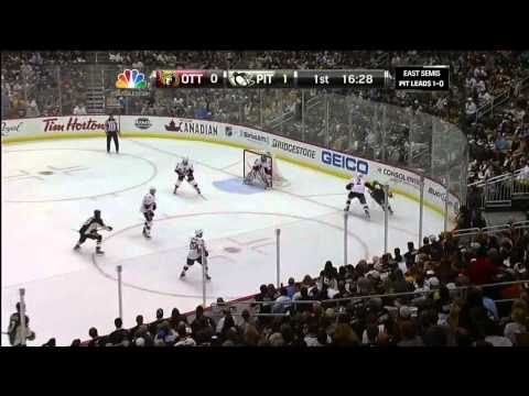 Sidney Crosby 5 hole wrister goal 1-0. hat trick. May 17 2013 Ottawa Senators vs Pittsburgh Penguins