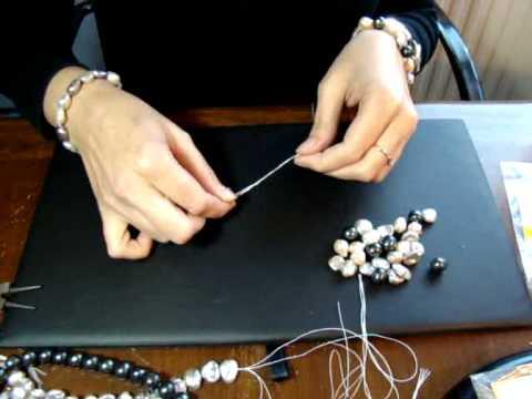 Como hacer un Collar largo con nudos y sin cierre con hilo de seda. www.joyanet.com