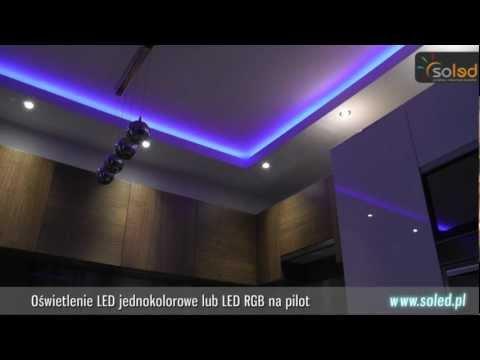 Podświetlenie LED RGB Sufitu Podwieszanego. Taśma LED RGB we wnęce z płyty GK