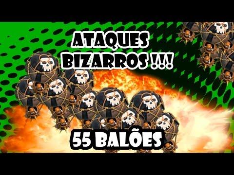 Clash of Clans - 55 Balões nível 6 - Ataques Bizarros ! ( 55 Balloons lvl 6 attack )