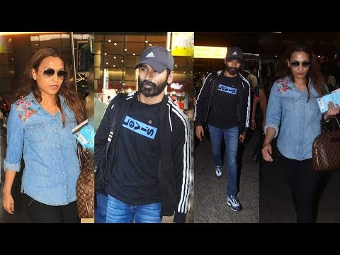 South Star Dhanush With Wife Aishwarya In Mumbai To Promote His Film At Airport - Spotted