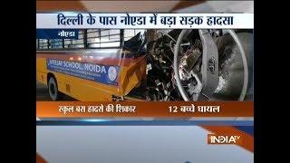 Noida: 12 students injured as school bus rams into divider near Rajnigandha Chowk - INDIATV