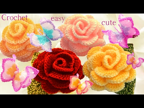 Aprende como tejer a Crochet Mariposas flores rosas 3D en una tira con hojas