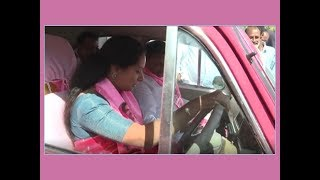In driving seat for Nizamabad nominee: MP Kalvakuntla Kavitha's pink coloured car draws attention - TIMESOFINDIACHANNEL