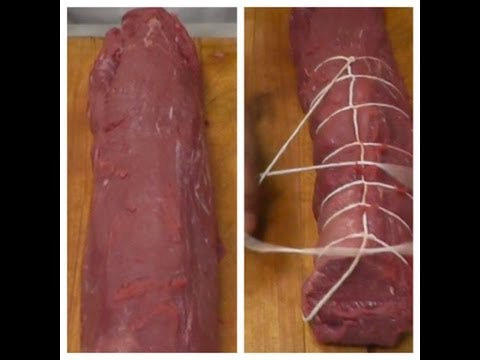 How to Tie a Whole Beef Tenderloin. Tying a loin of meat. How to Tie Meat. Beef Roast