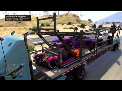 GTA 5 Online  + Fun Times with a Car Carrier Truck!+ GTA 5 Funny Multiplayer Glitches and Moments!
