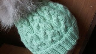 Вязание  шапки с косами на 5 спицах.Knitting hats with braids 5 spokes