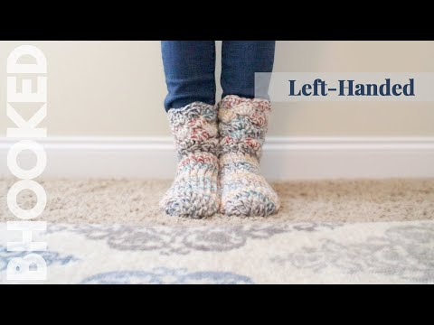 How to Crochet Slipper Socks Left Handed