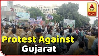 Lucknow: Congress workers protest against Gujarat CM due to violence of migrants - ABPNEWSTV