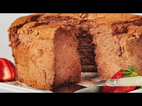 Chocolate Angel Food Cake Recipe Demonstration - Joyofbaking.com