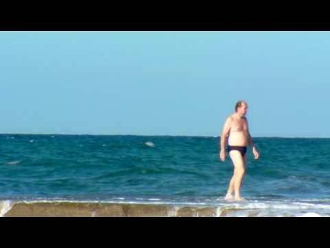 Old Man Gets Overturned by a Giant Wave HD