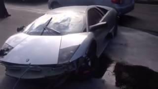 بالصور و الفيديو .. حادث عنيف لسيارة لامبورجيني مورسيلاجو في السعودية