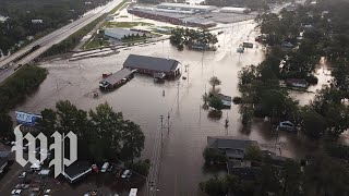 Drone video shows streets underwater in Lumberton, N.C. - WASHINGTONPOST