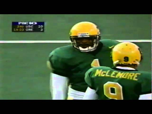 Oregon safety Michael Fletcher stops USC on 3rd & short 10-24-1998