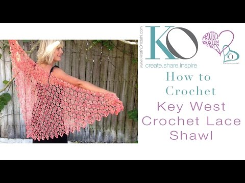 Key West Crochet Shawl Top Down Crochet Lace SLOW for Beginners RIGHT HAND Crocheter