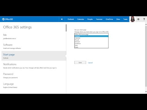 O365 Settings Start Page and Notifications