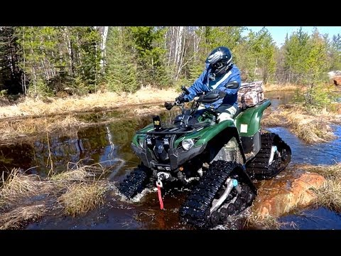 Yamaha Grizzly 700 Testing The Tracks On Rock Snow Sand and Mud - May 5, 2013