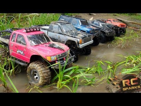 RC ADVENTURES -  6 Scale RC 4x4 Trucks in MUD, DIRT &amp; a Forest! Group Trail Gathering  (GTG)