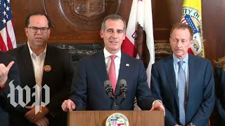 Los Angeles mayor and teachers' unions hold news conference - WASHINGTONPOST