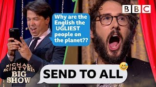 Josh Groban CRINGING with embarassment 😳😂 as Michael steals his phone to TRASH the UK - Send To All - BBC