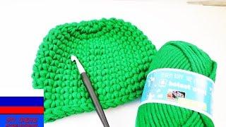 Зимняя шапочка на ребенка столбики без накида вязание крючком