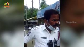 S R Nagar Traffic Police SI M Raghavendra Using Abusive Language On Street Vendors At Erragadda - MANGONEWS