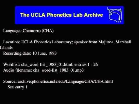 Chamorro audio: cha_word-list_1983_01