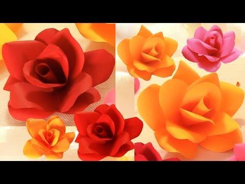 Como hacer flores rosas de todos los tamaños - Diy flowers roses very easy