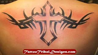 Tribal Cross Back Tattoo