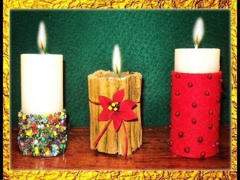 MANUALIDADES   3 IDEAS PARA DECORAR VELAS EN NAVIDAD -  POR GEORGIO -  ideas for decorating candles
