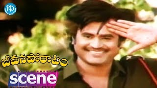 Jeevana Poratam Movie Scenes - Rajinikanth Returns Home From Military Camp || Shobhan Babu - IDREAMMOVIES