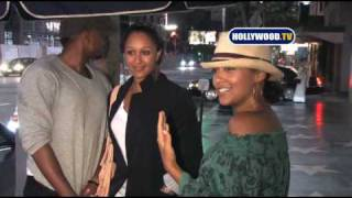 chanel-: Tia Mowry And Tamera Mowry Talk To Cameras At Katsuya
