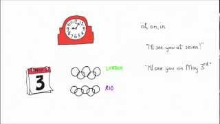 Time prepositions at, on and in video lesson